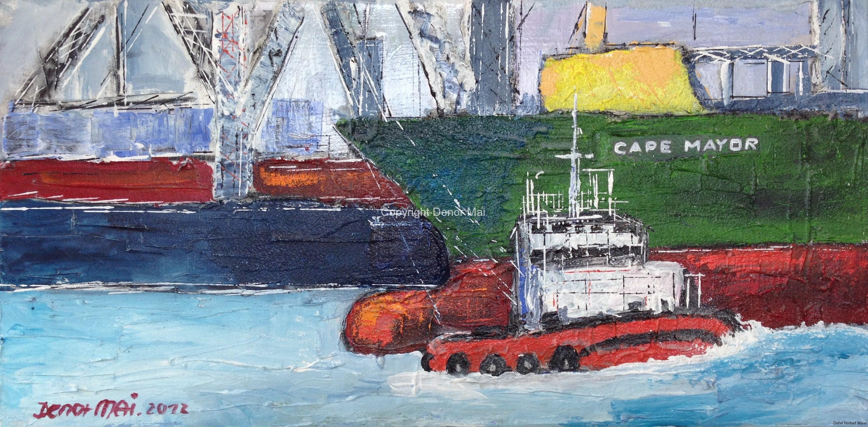 Hamburg Hafen mit Schlepper,2013, 30x60