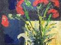 Mohn abstrakt vor blau 30x30