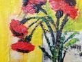 Mohn abstrakt vor gelb 30x30